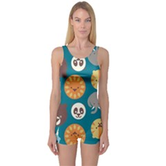 Animal Pattern One Piece Boyleg Swimsuit