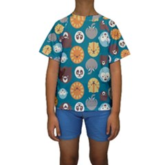 Animal Pattern Kids  Short Sleeve Swimwear