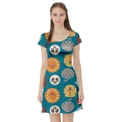 Animal Pattern Short Sleeve Skater Dress