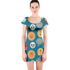 Animal Pattern Short Sleeve Bodycon Dress