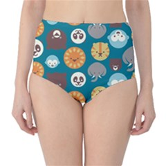 Animal Pattern High-Waist Bikini Bottoms