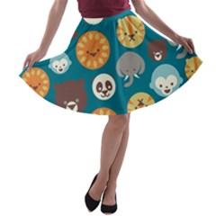 Animal Pattern A-line Skater Skirt