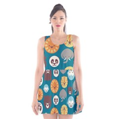 Animal Pattern Scoop Neck Skater Dress