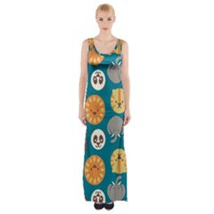 Animal Pattern Maxi Thigh Split Dress