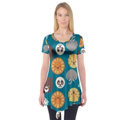 Animal Pattern Short Sleeve Tunic