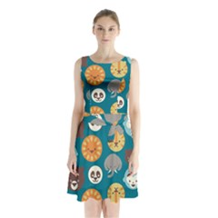 Animal Pattern Sleeveless Chiffon Waist Tie Dress