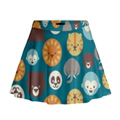 Animal Pattern Mini Flare Skirt