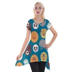 Animal Pattern Short Sleeve Side Drop Tunic