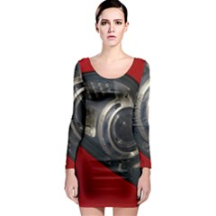 Auto Red Fast Sport Long Sleeve Bodycon Dress