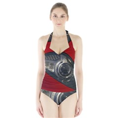 Auto Red Fast Sport Halter Swimsuit