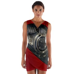 Auto Red Fast Sport Wrap Front Bodycon Dress