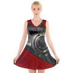 Auto Red Fast Sport V-Neck Sleeveless Skater Dress