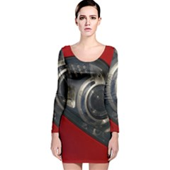 Auto Red Fast Sport Long Sleeve Velvet Bodycon Dress