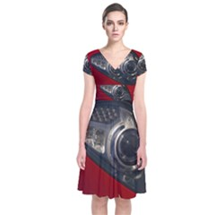 Auto Red Fast Sport Short Sleeve Front Wrap Dress