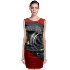 Auto Red Fast Sport Sleeveless Velvet Midi Dress
