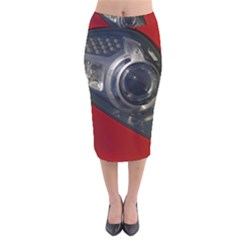 Auto Red Fast Sport Velvet Midi Pencil Skirt