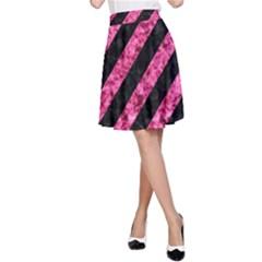 STR3 BK-PK MARBLE A-Line Skirt