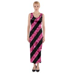 STR3 BK-PK MARBLE Fitted Maxi Dress