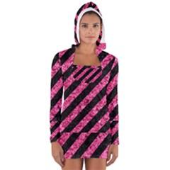 STR3 BK-PK MARBLE Women s Long Sleeve Hooded T-shirt
