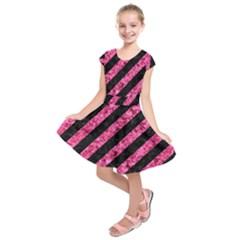 STR3 BK-PK MARBLE Kids  Short Sleeve Dress
