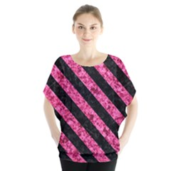 Stripes3 Black Marble & Pink Marble (r) Batwing Chiffon Blouse