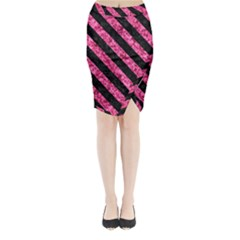 STR3 BK-PK MARBLE (R) Midi Wrap Pencil Skirt