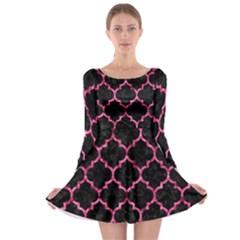 TIL1 BK-PK MARBLE Long Sleeve Skater Dress