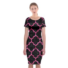 Tile1 Black Marble & Pink Marble Classic Short Sleeve Midi Dress