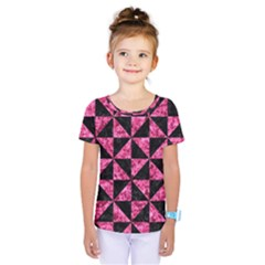 Triangle1 Black Marble & Pink Marble Kids  One Piece Tee