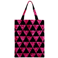 Triangle3 Black Marble & Pink Marble Zipper Classic Tote Bag