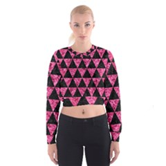 Triangle3 Black Marble & Pink Marble Cropped Sweatshirt