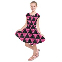 Triangle3 Black Marble & Pink Marble Kids  Short Sleeve Dress