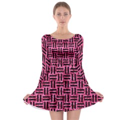 WOV1 BK-PK MARBLE (R) Long Sleeve Skater Dress