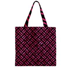 WOV2 BK-PK MARBLE Zipper Grocery Tote Bag