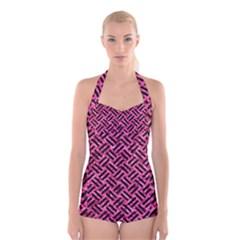 WOV2 BK-PK MARBLE (R) Boyleg Halter Swimsuit