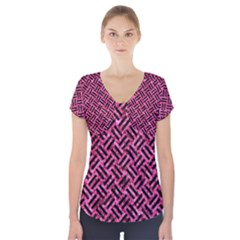 Woven2 Black Marble & Pink Marble (r) Short Sleeve Front Detail Top