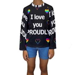 Proudly love Kids  Long Sleeve Swimwear