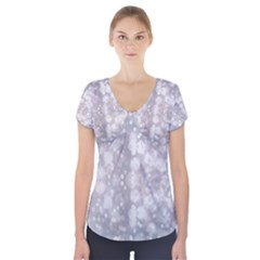 Light Circles, rouge Aquarel painting Short Sleeve Front Detail Top