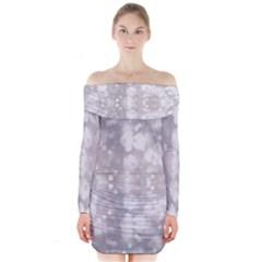 Light Circles, rouge Aquarel painting Long Sleeve Off Shoulder Dress