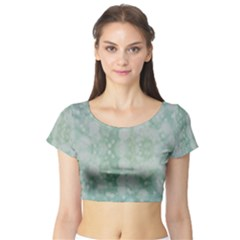 Light Circles, Mint green color Short Sleeve Crop Top (Tight Fit)
