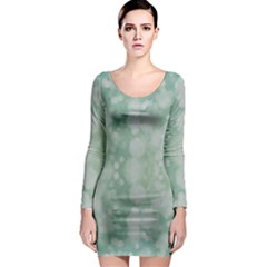 Light Circles, Mint green color Long Sleeve Bodycon Dress