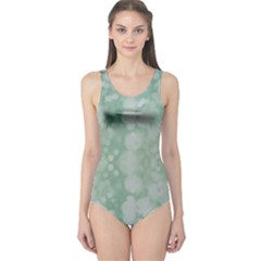 Light Circles, Mint green color One Piece Swimsuit