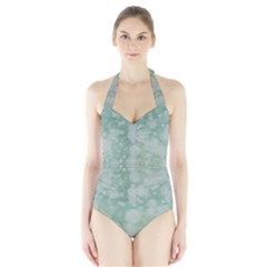 Light Circles, Mint green color Halter Swimsuit