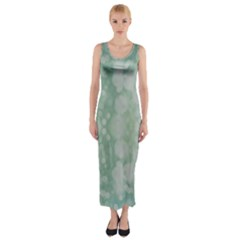 Light Circles, Mint green color Fitted Maxi Dress