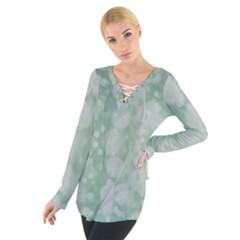 Light Circles, Mint green color Women s Tie Up Tee