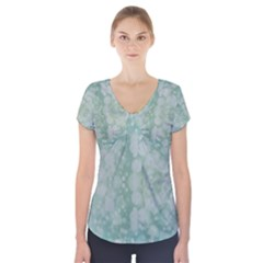 Light Circles, Mint green color Short Sleeve Front Detail Top