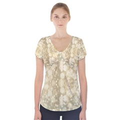 Light Circles, Brown Yellow color Short Sleeve Front Detail Top