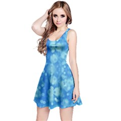 Light Circles, dark and light blue color Reversible Sleeveless Dress