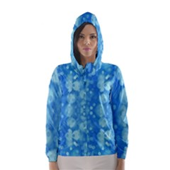 Light Circles, dark and light blue color Hooded Wind Breaker (Women)
