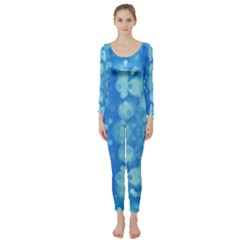 Light Circles, dark and light blue color Long Sleeve Catsuit
